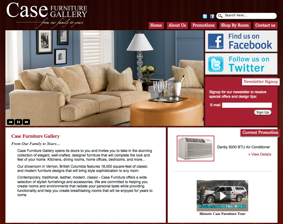 Case Furniture Gallery Website | Twin Creek Media