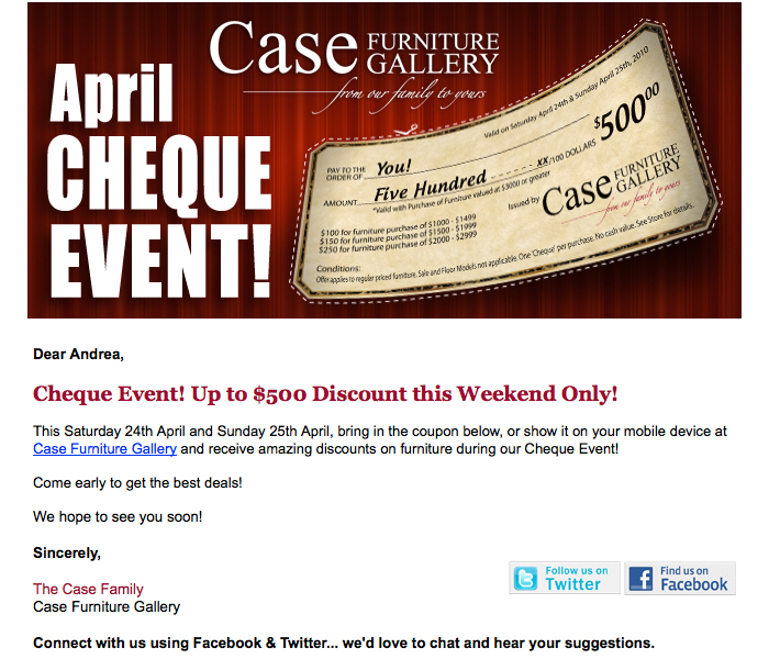 Case Furniture Gallery Email Newsletter | Twin Creek Media