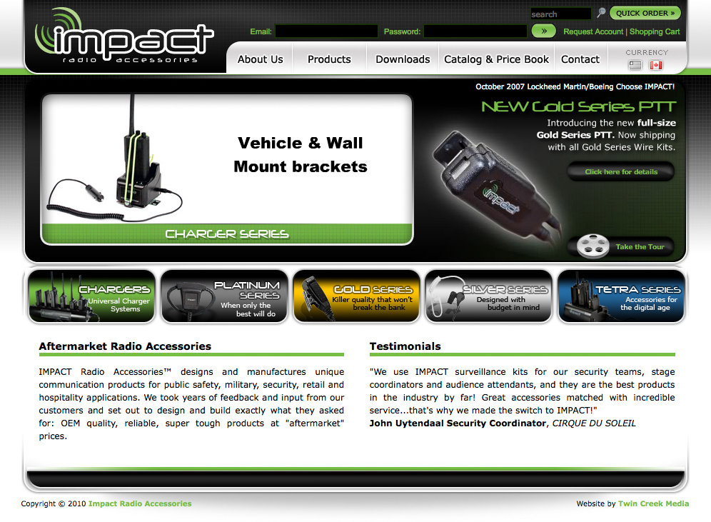 Impact Radio Accessories Website | Twin Creek Media