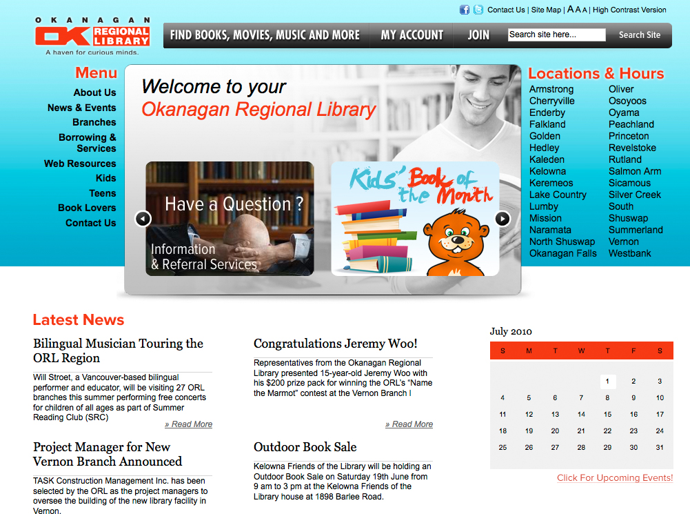 Okanagan Regional Library Website | Twin Creek Media