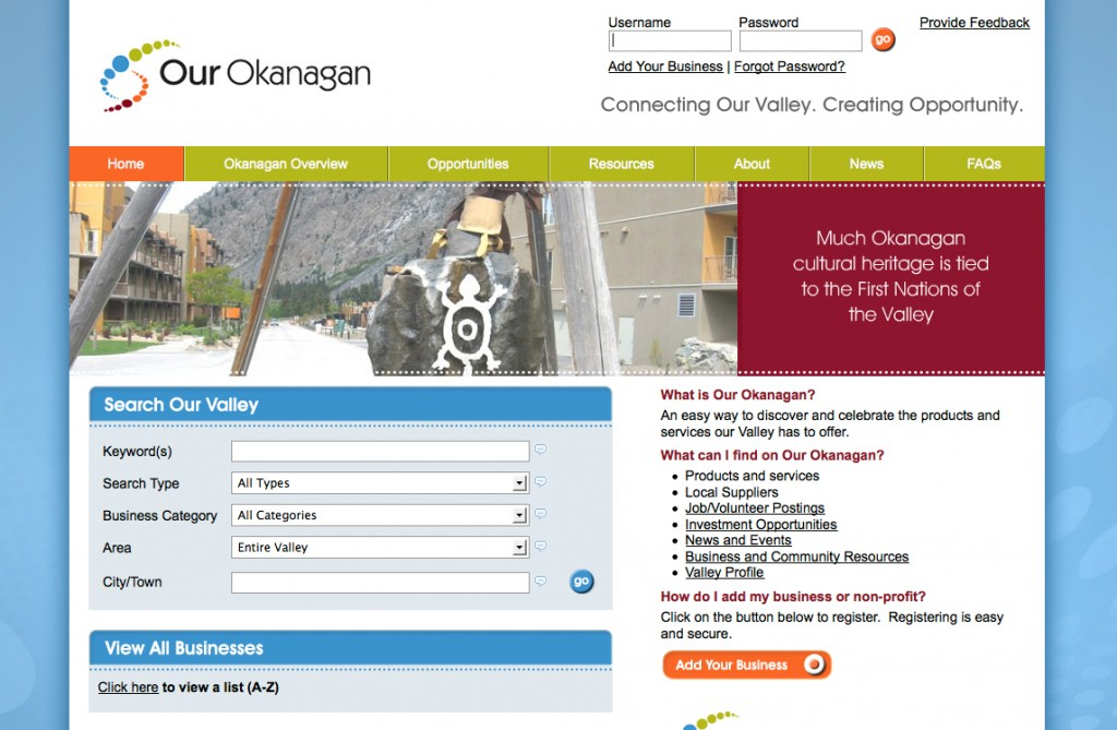 Our Okanagan Website | Twin Creek Media