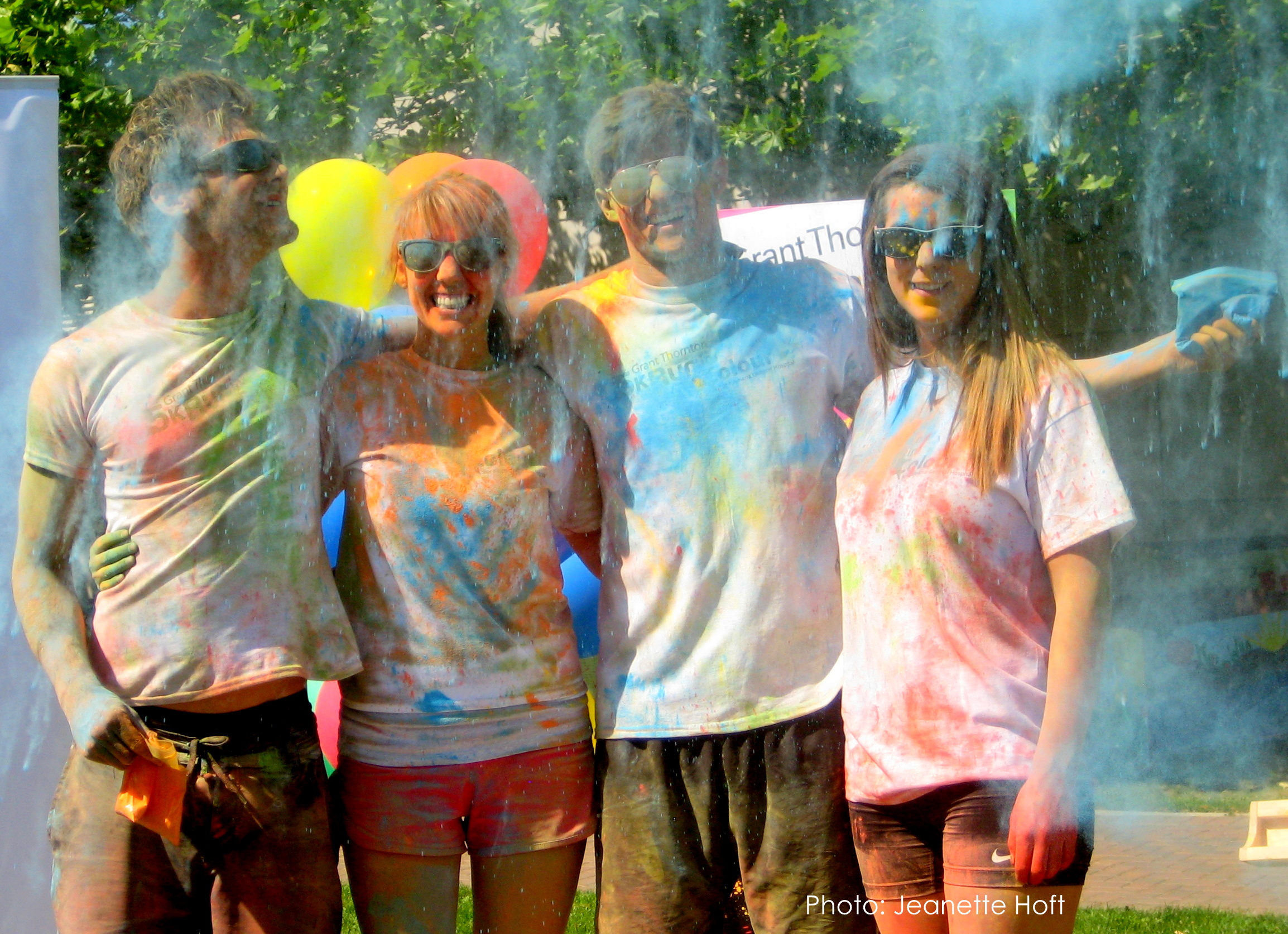 Local students Jonathan Arkle, Jill Gilroy, David Dimitrov and Allegra Rogers thoroughly enjoying their first colour experience!