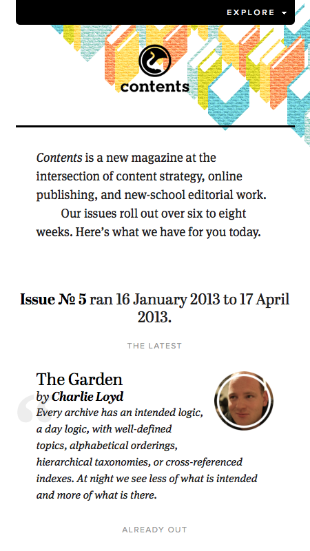 Responsive Web Design Contents Magazine Small