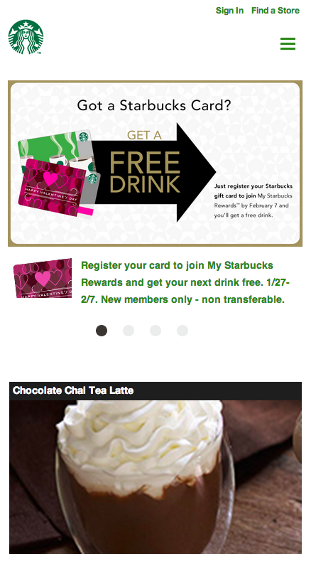 Responsive Web Design Starbucks Small